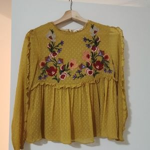 Zara Loose Embroidered Blouse Size XS